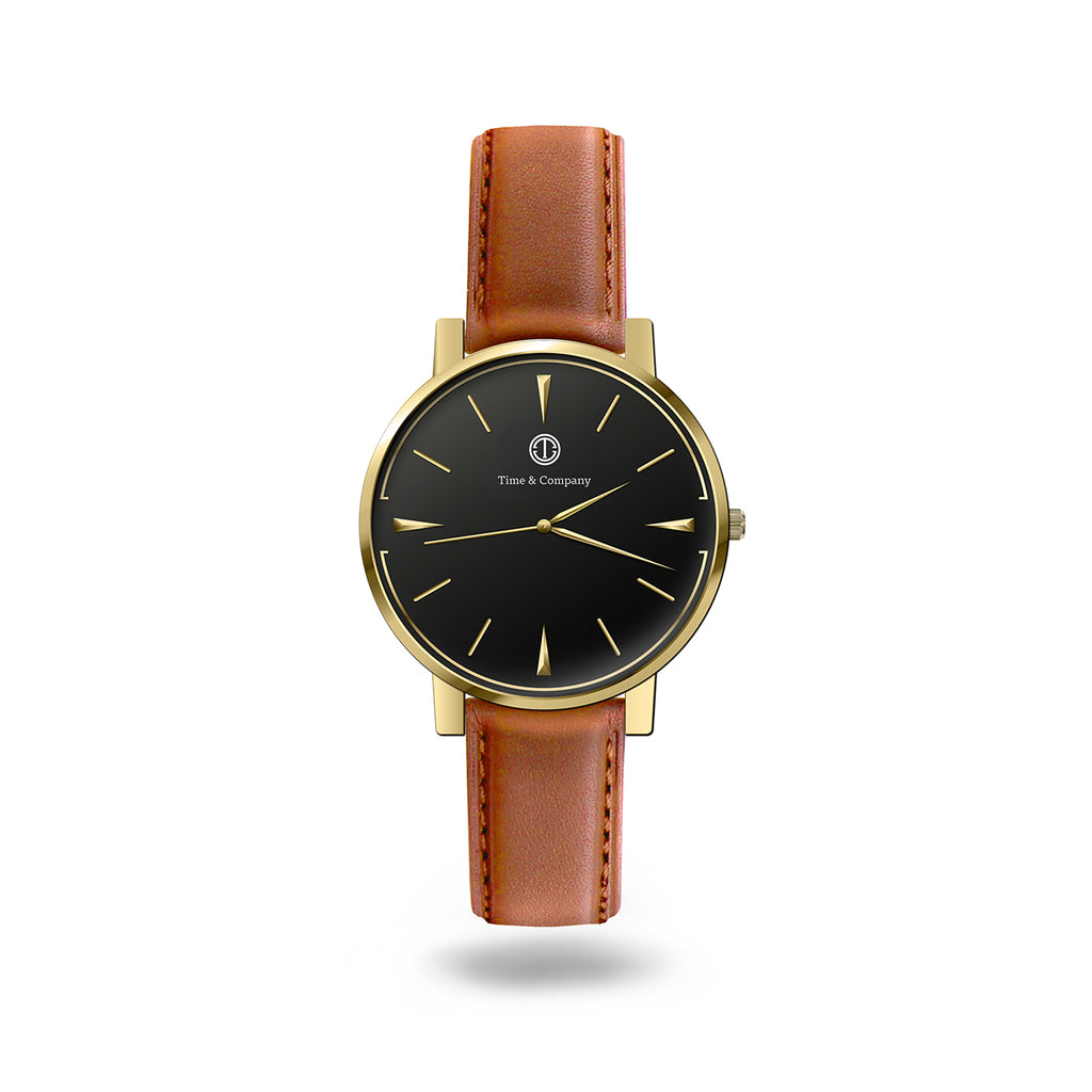 Date & Time Unisex Black/Light Brown Wrist Watch - Time and Company