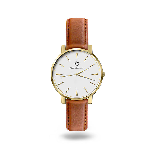 Hour & Action Unisex White/Light Brown Wrist Watch - Time and Company