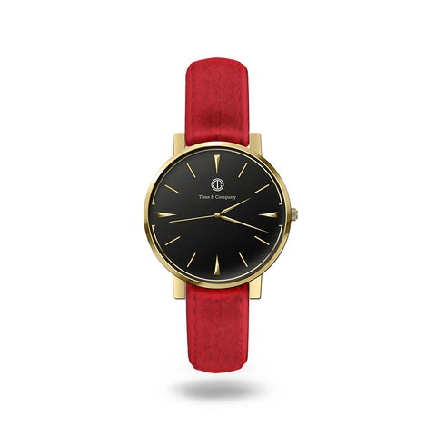 Seconds & Community Unisex Black/Red Wrist Watch - Time and Company