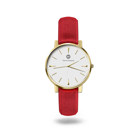 Here & Now Unisex White/Red Wrist Watch - Time and Company