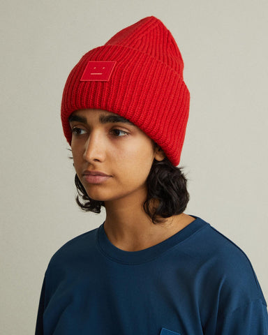 face patch knit hat