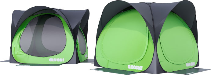 hub of the cinch popupt camping tent
