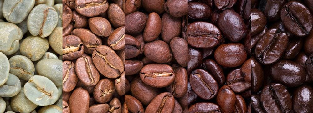 How we select our coffee beans - Blog - coffee beans at different stages of the roasting process