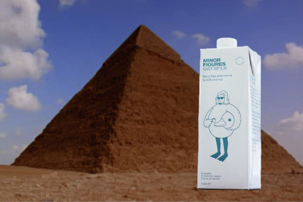 Minor Figures Oat Milk near the great pyramid of Giza in Egypt