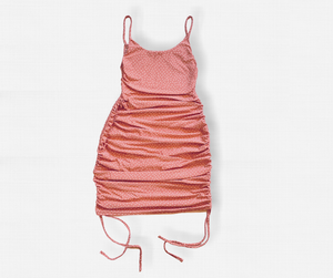 Drawstring Bodycon Dress - Pink - Differently