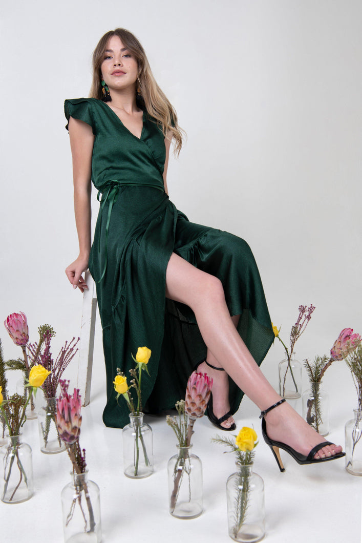 Midi Petal Wrap Dress - Emerald - Differently