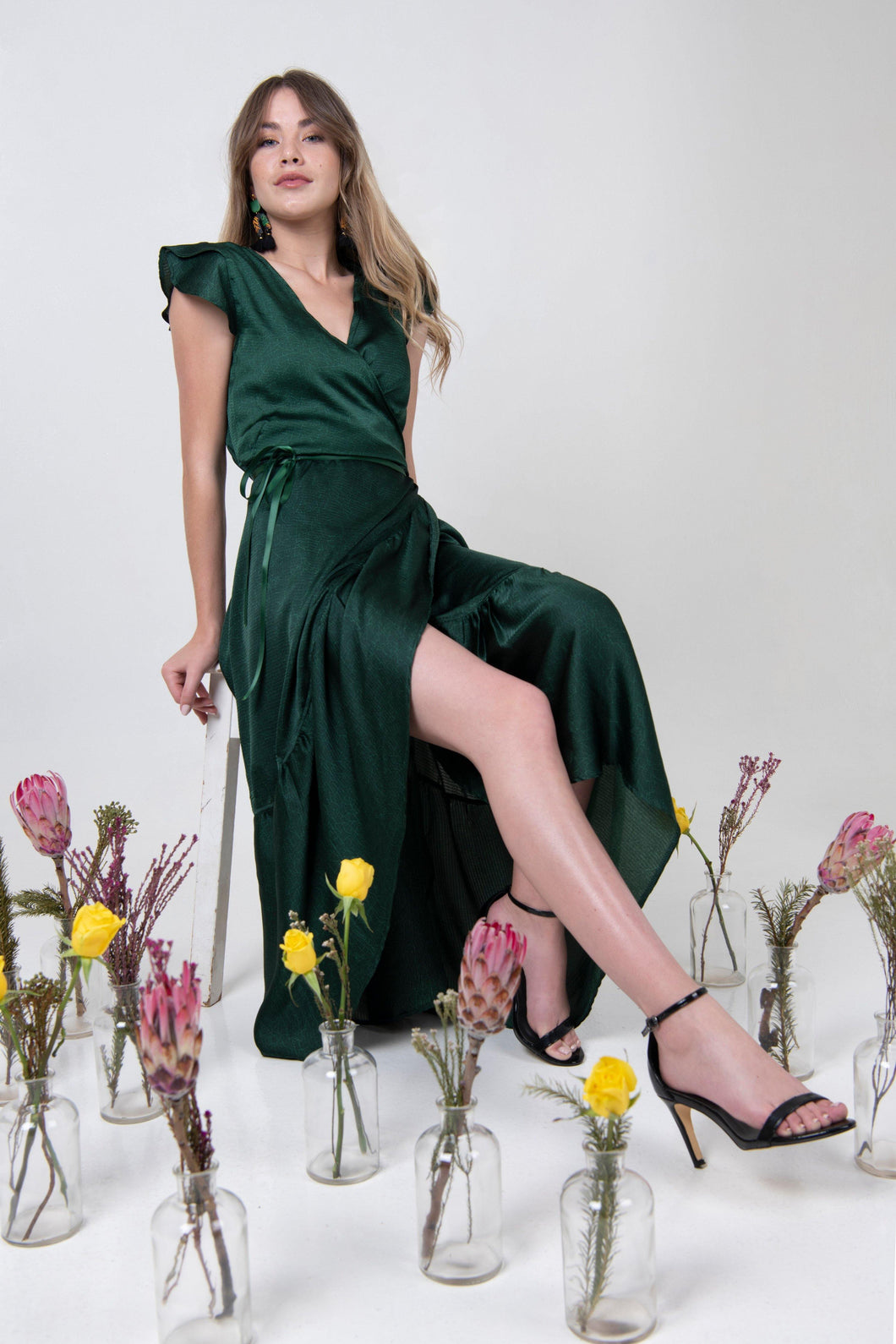 Midi Petal Wrap Dress - Emerald
