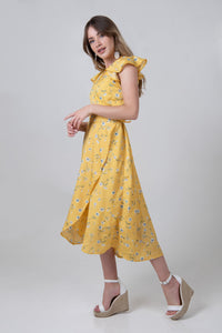 Femme Wrap Dress - Pastel Yellow - Differently