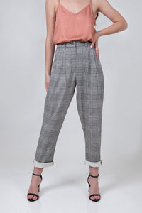 Womens Tailored Trousers - Plaid