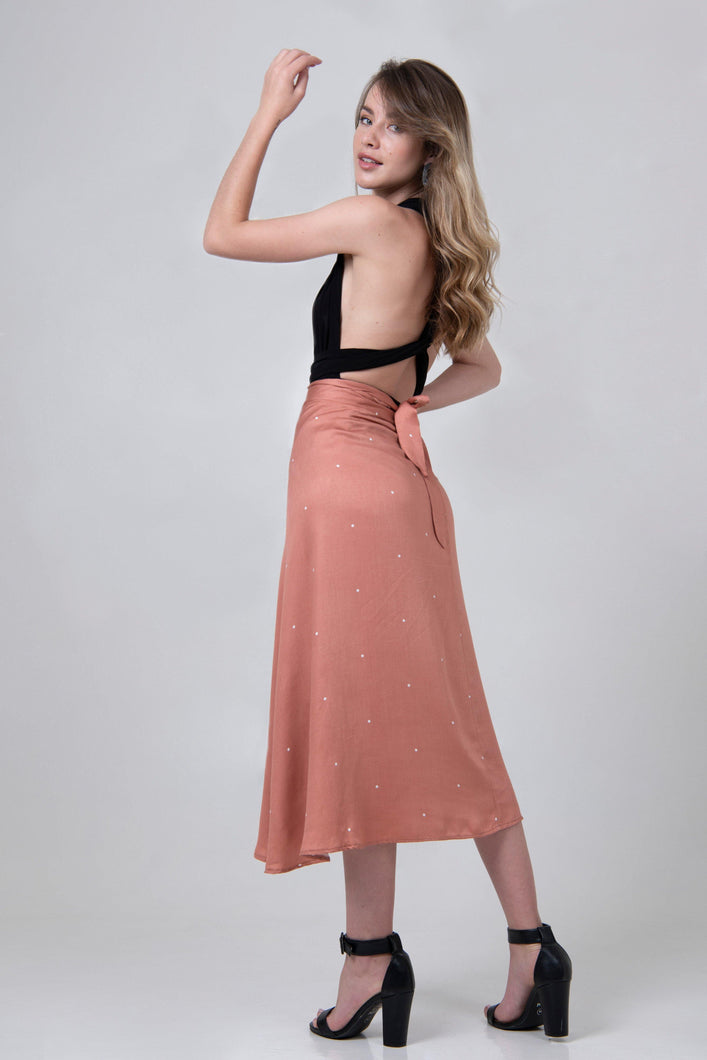 Midi Wrap Skirt - Pink Dotty