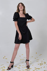 Puffy Sleeve Dress - Black