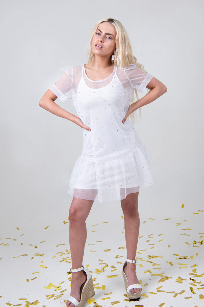 Star Mesh Dress - White - Differently
