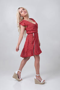 Petal Wrap Dress - Red Dotty