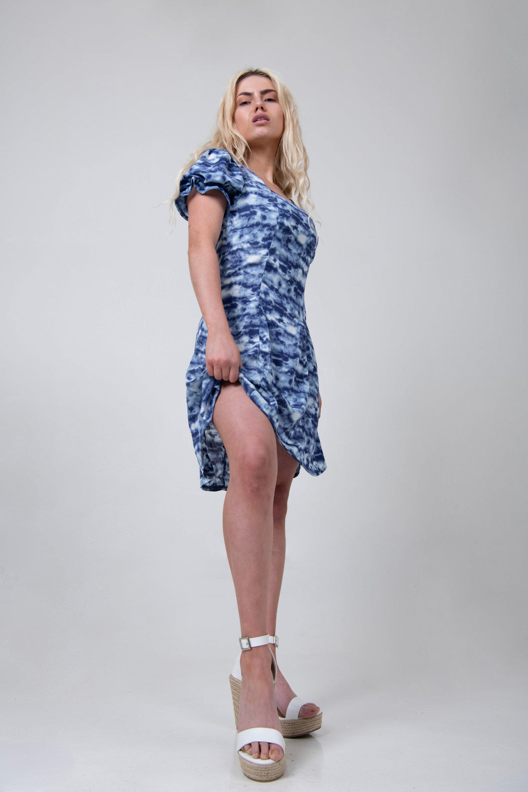 Puffy Sleeve Dress - Blue Tie Dye - Differently
