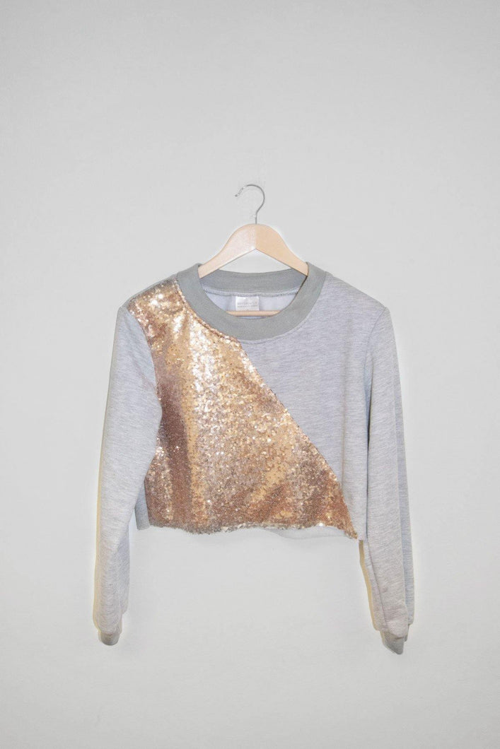 Sequin Crop Sweater - Grey