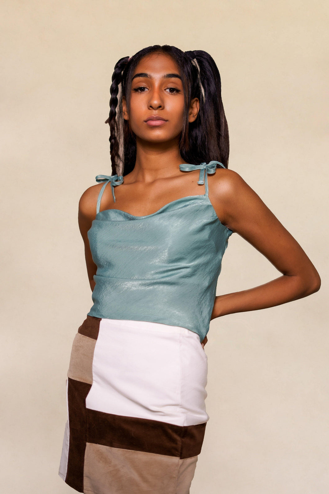 Sage Green Satin Cowl Neck Crop top with Tie Straps TikTok and Instagram Top