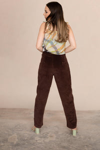 Women's Corduroy High Rise Straight Cut Pants Trousers in Brown