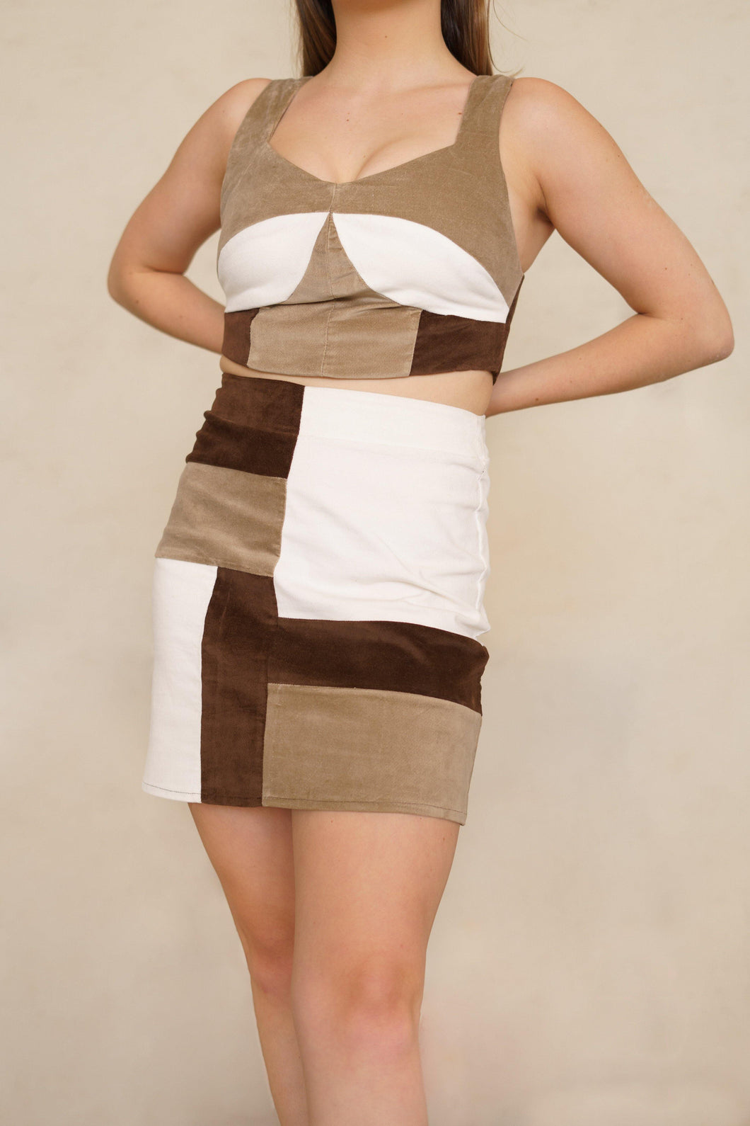 Patchwork vintage mini skirt in Brown, Beige and White with Matching Co-Ord Corset Top with Zip