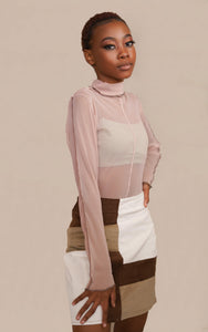 Nude Pink Polar Neck Mesh Top with stitching detail for Vintage Look TikTok Fashion