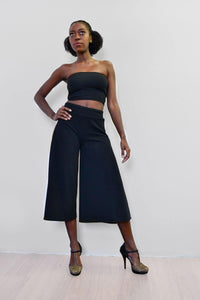 Side Slit Culottes - Black