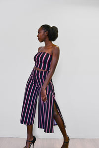 Side Slit Culottes - Stripe