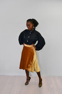 Midi Wrap Skirt - Liquid Gold