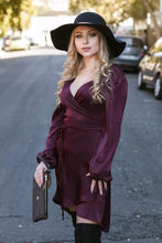 Load image into Gallery viewer, Lux Satin Wrap Dress - Zinfandel