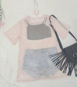 Mesh T-Shirt Dress - Pink Star