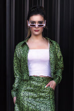 Load image into Gallery viewer, 90's Moment Crop Jacket - Olive Snake
