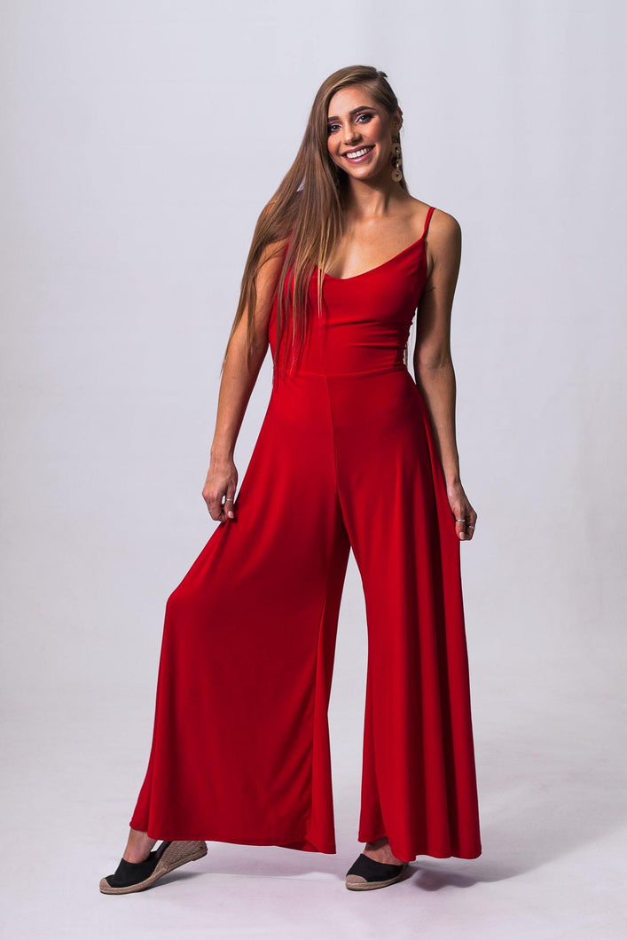 Wide Leg Jumpsuit, Red , Flared Leg Jumpsuit