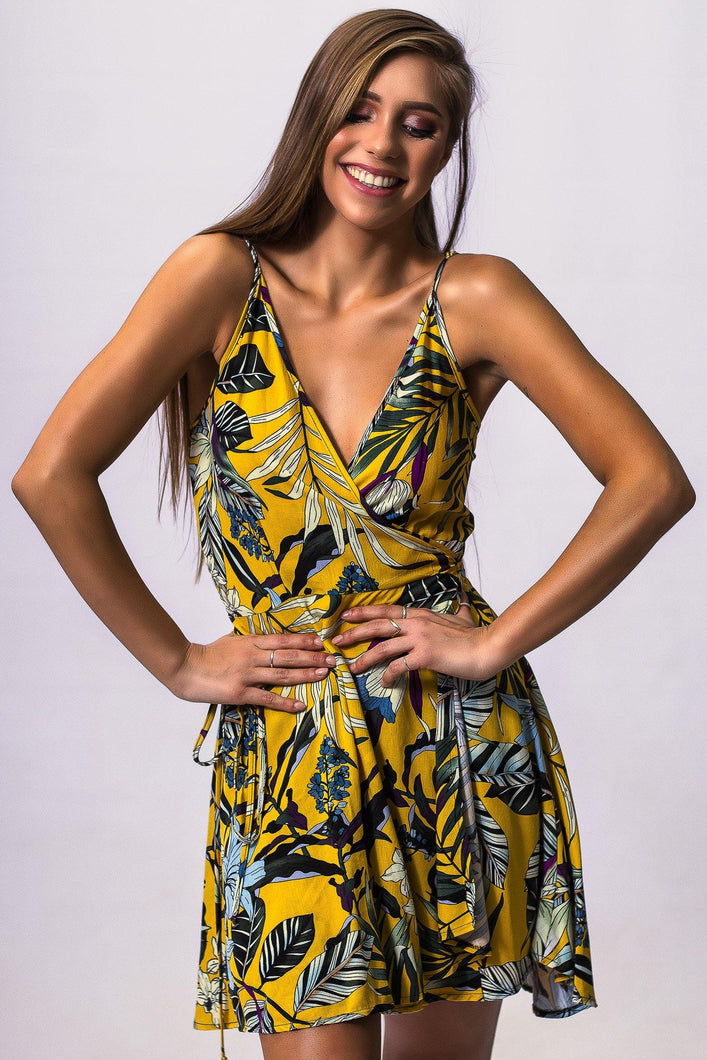 Wrap Dress Yellow Floral Summer Dress Beach dress Summer look Strap Mini Party Dress Casual