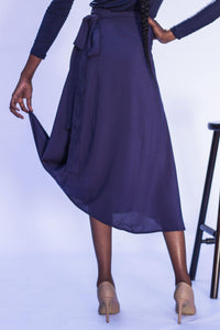 Midi Wrap Skirt - Navy