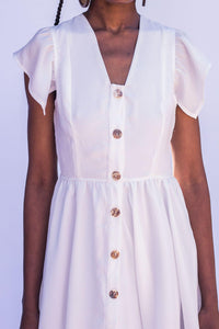 French Button Down Dress - White - Differently