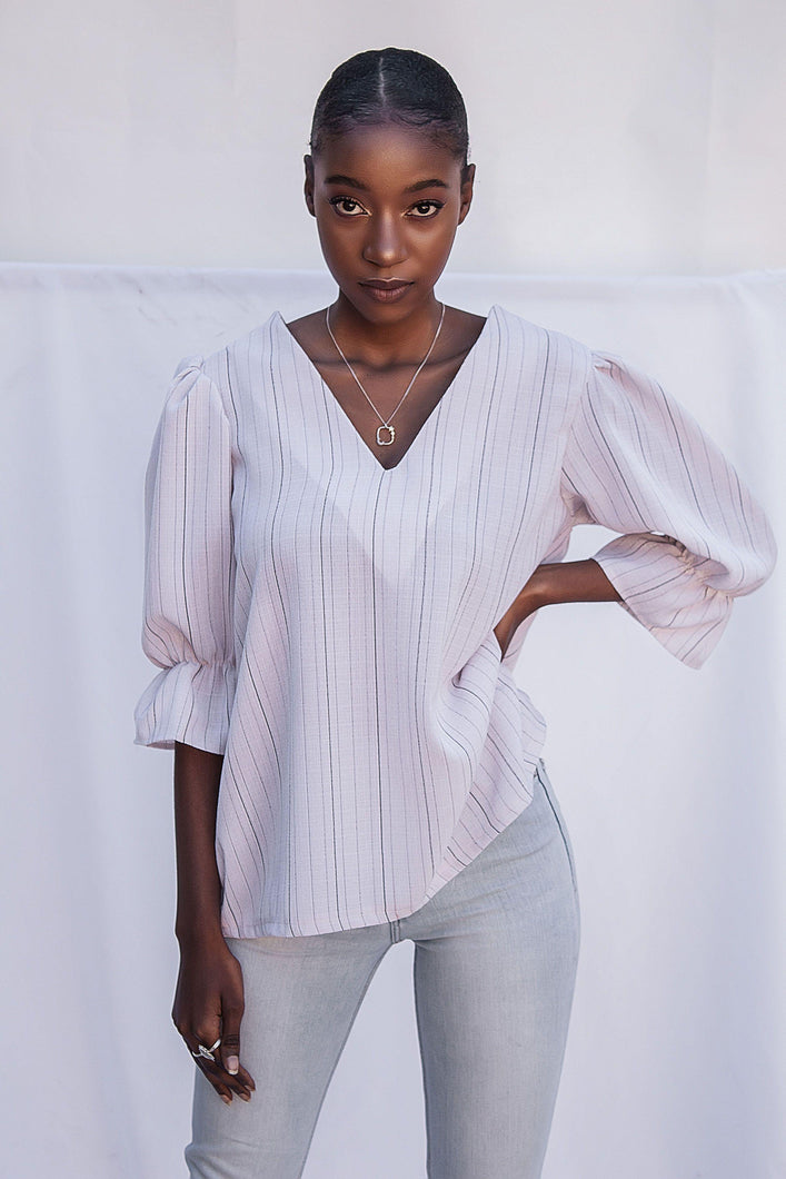 Puff Sleeve Blouse - Pinstripe - Differently