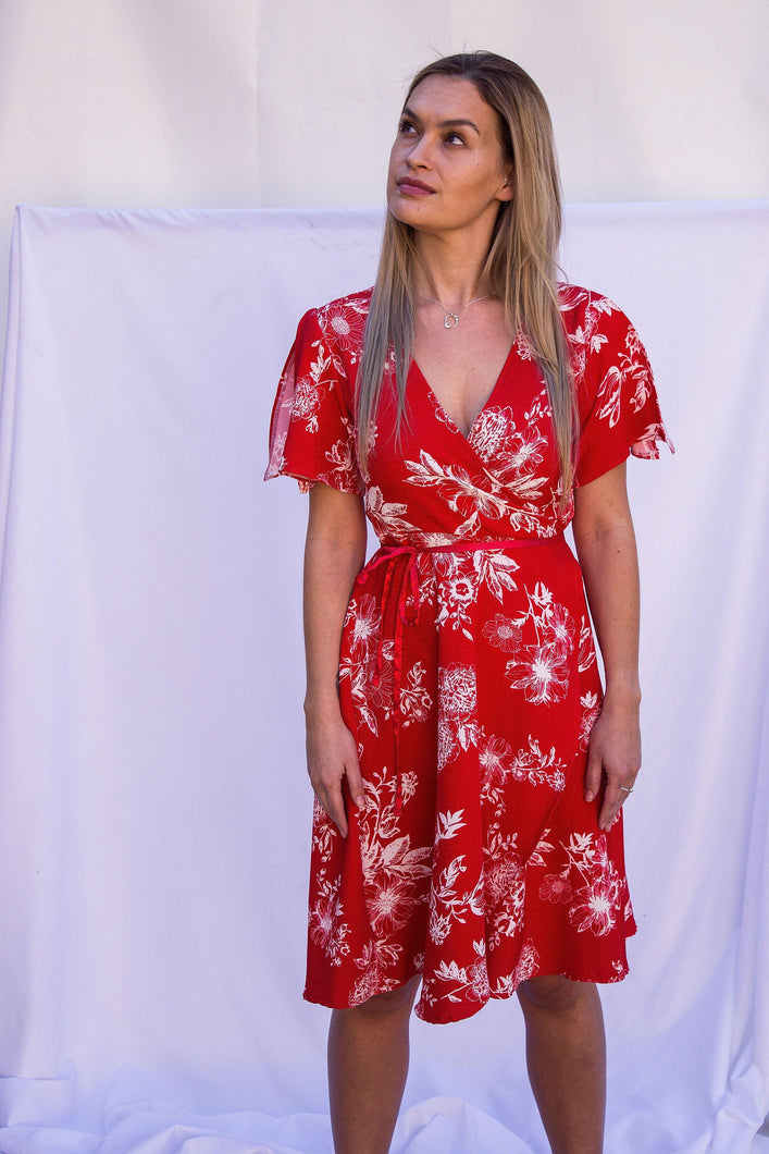 Botanical Wrap Dress - Red