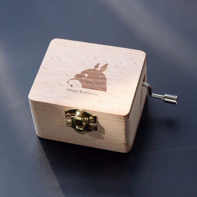 Totoro Wooden Hand Crank Music Box Engraved