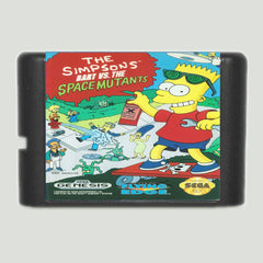 The Simpsons Bart Vs. The Space M'Jtants 16 bit MD Game Card For Sega Mega Drive For Genesis