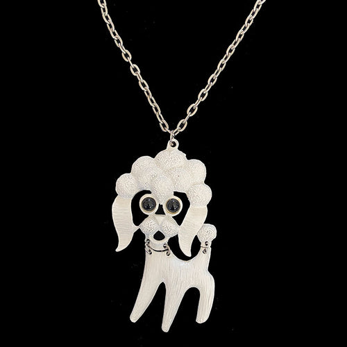 1970s black eyed poodle costume bling necklace