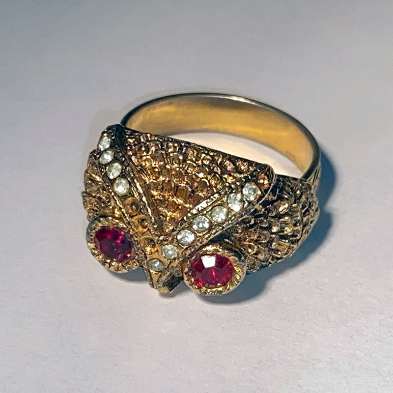 Vintage Costume Gold Owl Ring