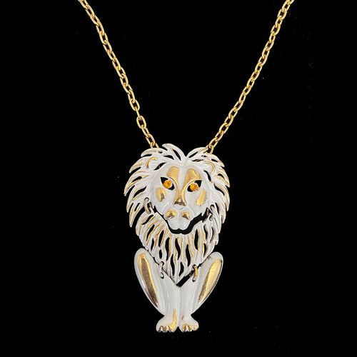 1970s vintage gold lion costume bling necklace