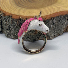Load image into Gallery viewer, Rainbow Sparkle Pink Unicorn Gold Tone Ring
