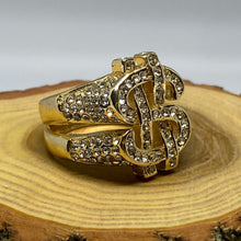 Load image into Gallery viewer, Cash Money Hip Hop Bling Gold Tone Ring