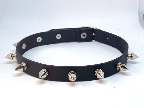 Punk Leather Single Row Classic Tree Spikes Choker Collar
