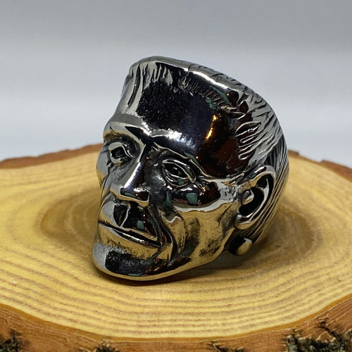 Frankenstein Head Monster Punk Silver Tone Ring