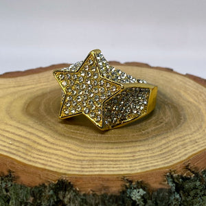 Hip Hop Iced Out Bling Rock Star Gold Tone Ring