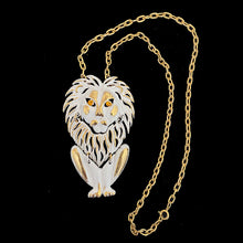Load image into Gallery viewer, 1970s vintage gold lion costume bling necklace