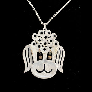1970's vintage poodle costume bling necklace