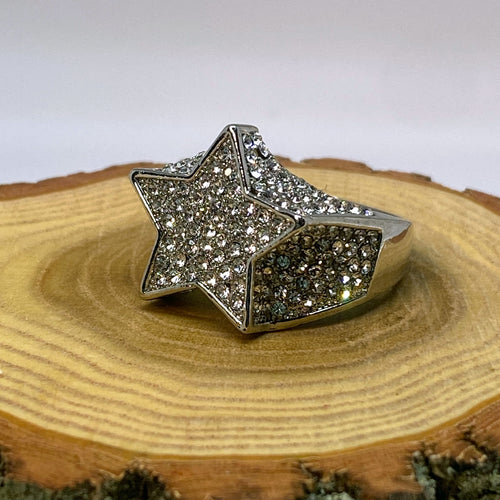 Hip Hop Iced Out Bling Rock Star Silver Tone Ring
