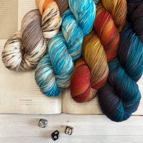 yarn colors from The Woolly dragon in role playing games themes with dice and a book