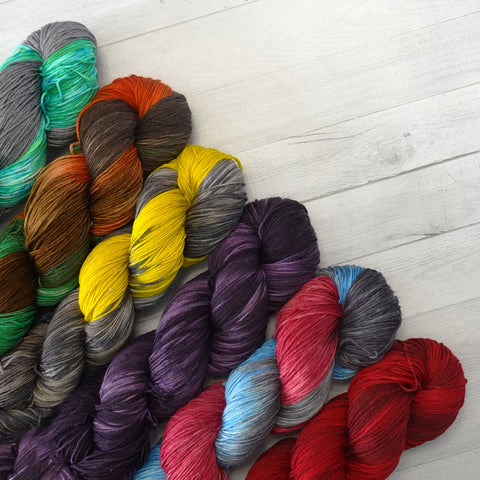 the woolly dragon guardians of the galaxy hand dyed yarn colors